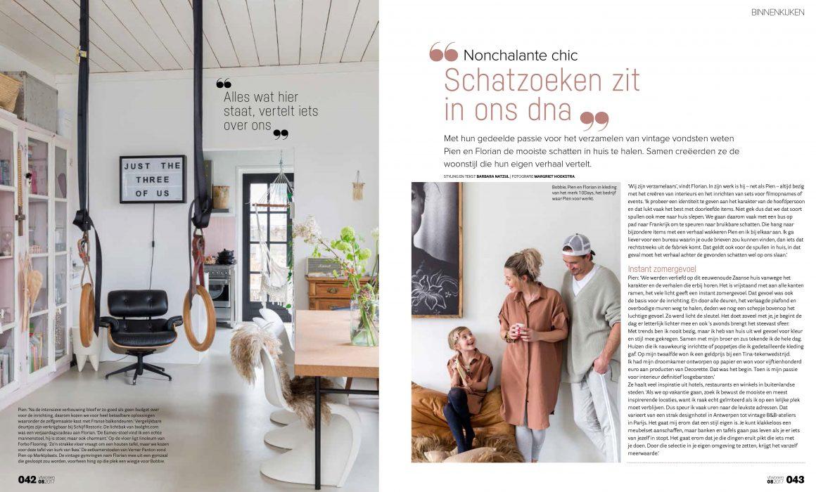 Twee pagina's uit VT wonen met een woonkamer en een portret