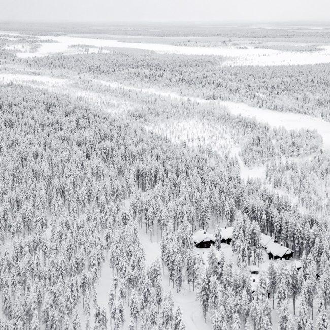dronefoto van bomen en klein dorp in lapland